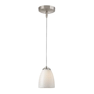 Low Voltage Brushed Nickel One Light Mini Pendant with White Swirl Glass