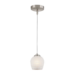 Low Voltage Brushed Nickel One Light Mini Pendant with White Glass