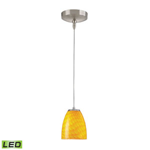 Low Voltage Brushed Nickel LED One Light Mini Pendant with Canary Glass