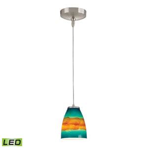 Low Voltage Brushed Nickel LED One Light Mini Pendant with Aqua Sunrise Glass