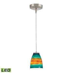 Low Voltage Brushed Nickel LED One Light Mini Pendant with Aqua Sunrise Glass