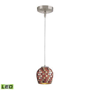 Low Voltage Brushed Nickel LED One Light Mini Pendant with Multi Fusion Glass