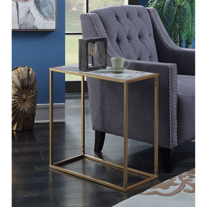 Gold Coast Faux Marble Chairside Table with Gold Base