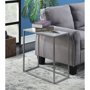 Gold Coast Faux Marble Chairside Table with Silver Base