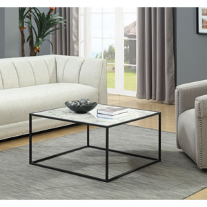 Gold Coast Faux Marble Coffee Table with Black Base