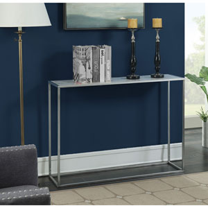 Gold Coast Faux Marble Console Table with Silver Base