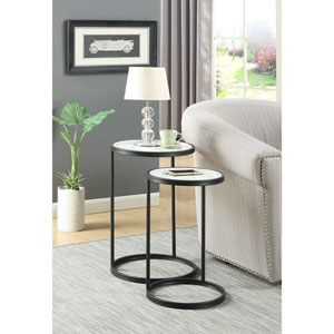 Gold Coast Faux Marble Nesting End Tables with Black Base