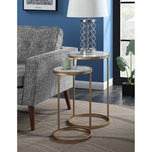Gold Coast Faux Marble Nesting End Tables with Gold Base