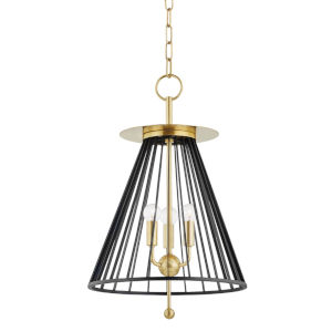 Cagney Aged Brass Three-Light Pendant with Black Steel Shade