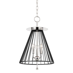 Cagney Polished Nickel Three-Light Pendant with Black Steel Shade
