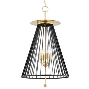Cagney Aged Brass Four-Light Pendant with Black Steel Shade