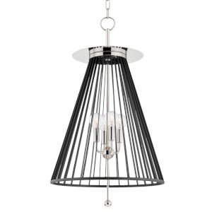 Cagney Polished Nickel Four-Light Pendant with Black Steel Shade