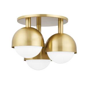 Foster Aged Brass Three-Light Semi-Flush Mount with Opal Glass