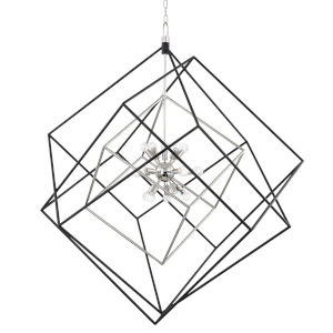 Round out Polished Nickel Black 15-Light Pendant