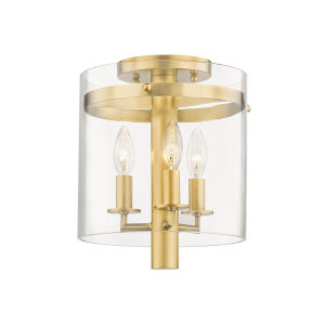 Baxter Aged Brass Three-Light Flush Mount