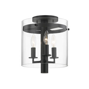 Baxter Old Bronze Three-Light Flush Mount