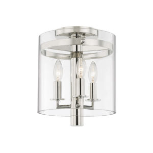 Baxter Polished Nickel Three-Light Flush Mount