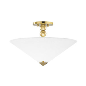 Flare Aged Brass Two-Light Flush Mount