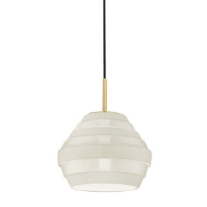 Calverton Aged Brass and White One-Light Pendant