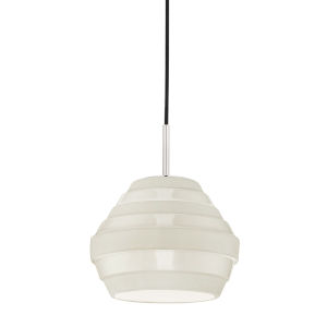 Calverton Polished Nickel and White One-Light Pendant