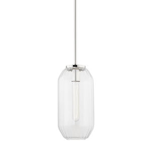 Bennett Polished Nickel Eight-Inch One-Light Mini Pendant with Clear Glass