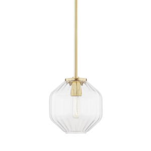 Bennett Aged Brass One-Light Mini Pendant with Clear Glass
