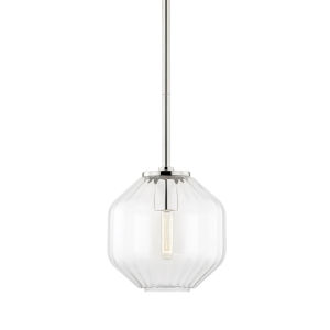 Bennett Polished Nickel One-Light Mini Pendant with Clear Glass