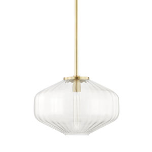 Bennett Aged Brass One-Light Pendant with Clear Glass