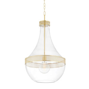 Hagen Aged Brass One-Light Pendant with Clear Glass