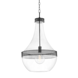Hagen Old Bronze One-Light Pendant with Clear Glass