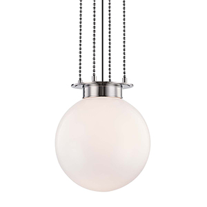 Gunther Polished Nickel 17-Inch One-Light Pendant