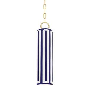Brookville Aged Brass Blue One-Light Mini Pendant