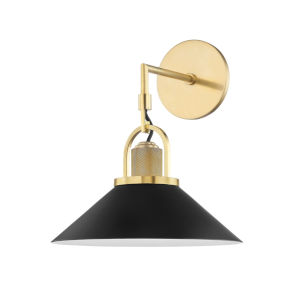 Syosset Aged Brass One-Light Wall Sconce with Black Aluminum Shade