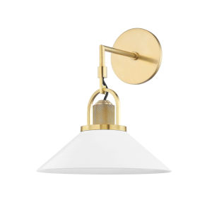 Syosset Aged Brass One-Light Wall Sconce with Soft Off White Aluminum Shade