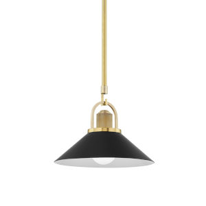 Syosset Aged Brass One-Light Mini Pendant with Black Aluminum Shade