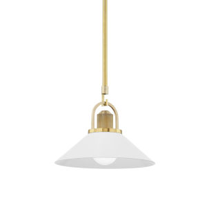 Syosset Aged Brass One-Light Mini Pendant with Soft Off White Aluminum Shade