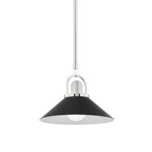 Syosset Polished Nickel One-Light Mini Pendant with Black Aluminum Shade