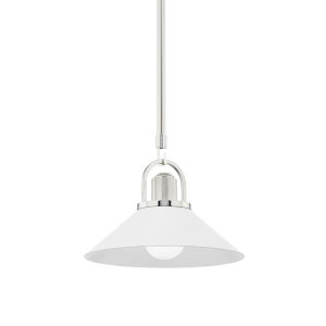 Syosset Polished Nickel One-Light Mini Pendant with White Aluminum Shade