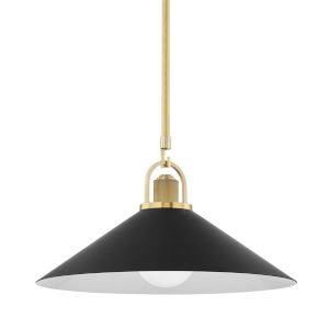 Syosset Aged Brass One-Light Pendant with Black Aluminum Shade