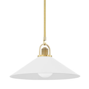 Syosset Aged Brass One-Light Pendant with Soft Off White Aluminum Shade