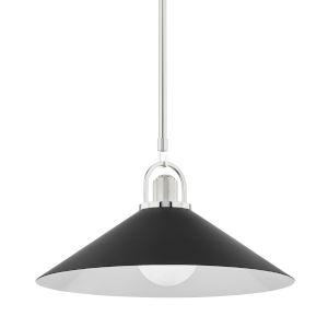 Syosset Polished Nickel One-Light Pendant with Black Aluminum Shade