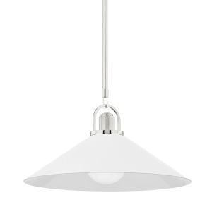 Syosset Polished Nickel One-Light Pendant with White Aluminum Shade