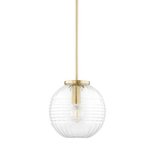 Bay Ridge Aged Brass One-Light Pendant with Clear Glass