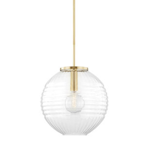 Bay Ridge Aged Brass One-Light Large Pendant with Clear Glass