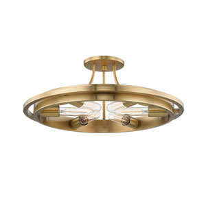 Chambers Aged Brass Six-Light Semi-Flush Mount