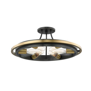 Chambers Aged Old Bronze Six-Light Semi-Flush Mount