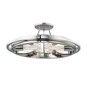 Chambers Polished Nickel Six-Light Semi-Flush Mount