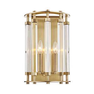 Haddon Aged Brass Two-Light Wall Sconce