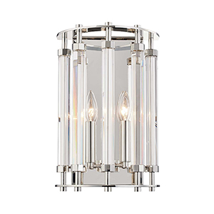 Haddon Polished Nickel Two-Light Wall Sconce