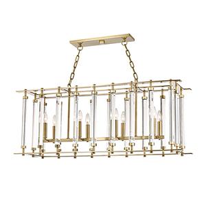 Haddon Aged Brass Eight-Light Island Light